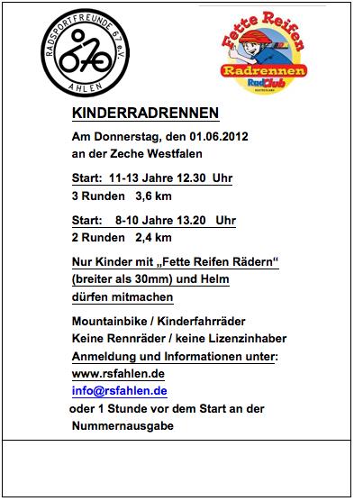 Plakat Kinderradrennen